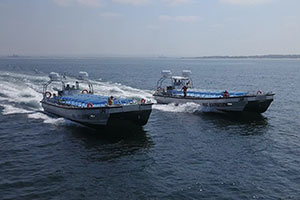 The low draft capabilities of the Legacy Catamaran 14.5m Dive Support Workboat