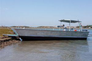 10.2m Aluminium Landing Craft, flat bottom and low draft capabilities, with the ramp extended